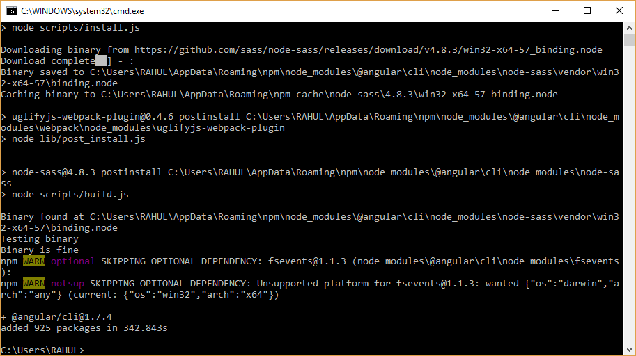 angular cli installation complete